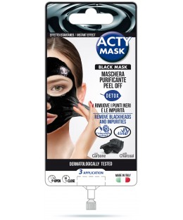 ACTY MASK - Masque Peel-off purifiant Noir au Charbon - 3 applications